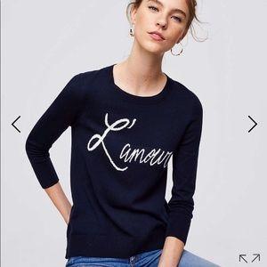 L'amour Lightweight Navy Sweater Size Medium Loft
